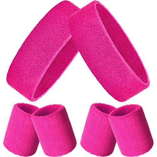 Bememo Sweatbands Set, Includes Sports Headband and Wristbands Sweatbands Colorful Sweatband Set for Men and Women (Neon Pink, 6 Pieces)