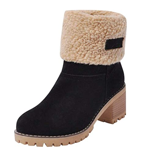 260cfa648836 Sunmoot Suede Warm Snow Ankle Bootie Women Winter Chunky Square High Heel  Round Toe Shoes