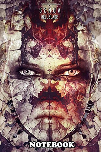 """Notebook: Hellblade Senua Face , Journal for Writing, College Ruled Size 6"""" x 9"""", 110 Pages"""
