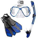 Zenoplige シュノーケルセット スノーケリング ドライスノーケル フィン・マスク・スノーケル 3点セット 曇り止め 強化ガラス 収納バッグ付き 男女兼用 (2020ブルー(スポーツカメラ取付可能), S/M)