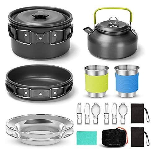 SDDDS Camping Kit de Utensilios de Cocina, Juego de cocción de Mochila compacta portátil, macetas y sartenes, para 2-3People mochileros de Senderismo Pesca de Picnic