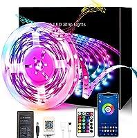 3.28フィートのLEDストリップライト、Bluetooth Ledストリップライト、寝室、キッチン、家の装飾用の24キーIrリモートLEDライトを備えた5050RGB色変更LEDライトストリップ,3.28ft