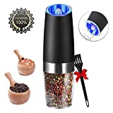 Gravity Electric Pepper Grinder, Salt or Pepper Mill & Adjustable Coarseness, Battery Powered with LED Light, One Hand Automatic Operation, Stainless Steel (Black)
