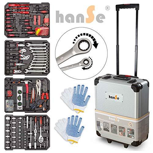 hanSe Werkzeugkoffer 1061tlg im Alukoffer Trolley Ratschenschlüssel Werkzeug