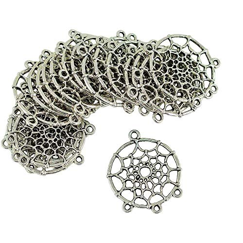 YuKeShop 20 Pieces Vintage Pretty Dream Catcher Charm Pendants Connectors for DIY Jewelry Finding
