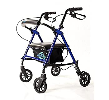 Lightweight Rollator Walker with Seat and Brakes Super Light Rollator Lightweight Aluminum Walker with Seat and Basket Brakes 6  Wheels Easy Adjustable Rollator Walker Seat and Arms Blue