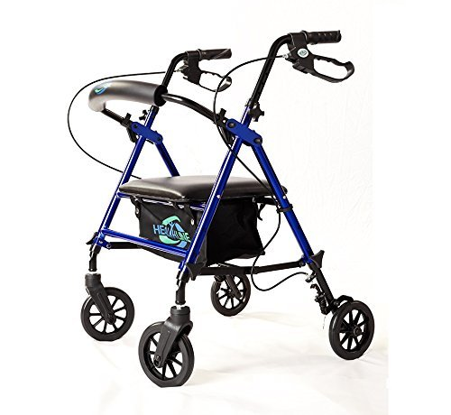 "Lightweight Rollator Walker with Seat and Brakes, Super Light Rollator Lightweight Aluminum Walker with Seat and Basket, Brakes, 6"" Wheels, Easy Adjustable Rollator Walker Seat and Arms, Blue"