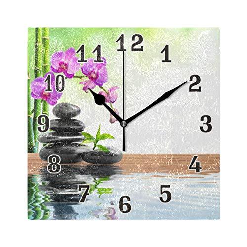 QMIN Wanduhr Japanische Zen Orchidee Bambus Quadratische Uhr geräuschlos kein Ticken leise Uhr für Schlafzimmer Wohnzimmer Küche Büro Home Decor