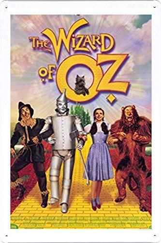 Cartel de metal de lata con texto en inglés 'The Wizard of Oz', diseño retro de la pared, 20 x 30 cm