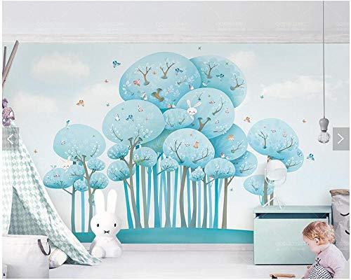 Muursticker aangepaste kinderen behang boskonijntje vogels 3D cartoon muurfoto kinderkamer park achtergrond behang 430 cm x 300 cm.