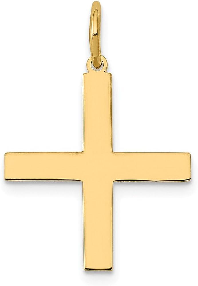 14K Yellow Gold Laser SALENEW大人気 公式 Cross Charm Designed