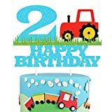 Farm Tractor 2nd Birthday Cake Topper,Happy Birthday Two Years Old Number 2 Birthday Cake Topper for Kids Boys Party Decoration Supplies