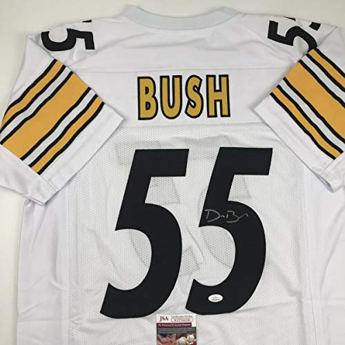 Autographed/Signed Devin Bush Pittsburgh White Football Jersey JSA COA
