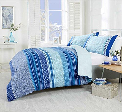 Cachemire Géométrique Rayé Bleu Sarcelle Mélange Coton King (Taille Uni Crème Drap - 152 X 200CM + 25) Crème Uni Taie Oreiller 6 Pièces Literie