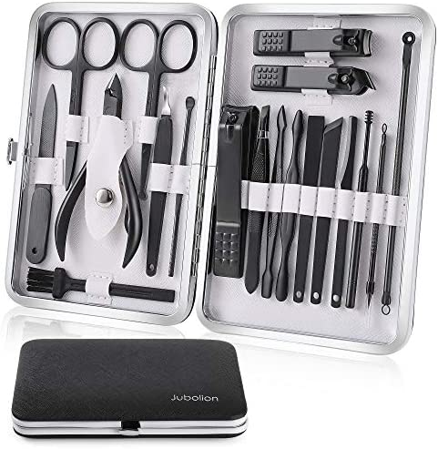Manicure Set Jubolion 19pcs Stainless Steel Professional Nail Clippers Pedicure Set with Black product image