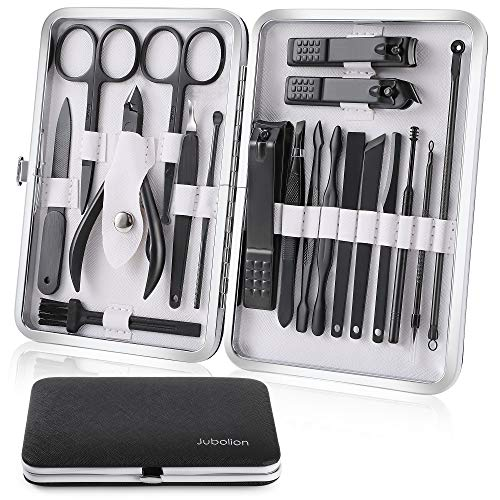 Manicure Set, Jubolion 19pcs Stainless Steel Professional Nail Clippers Pedicure Set with Black Leather Storage Case, Portable Grooming Kit for Travel or Home, Perfect Gifts for Women and Men (Black)