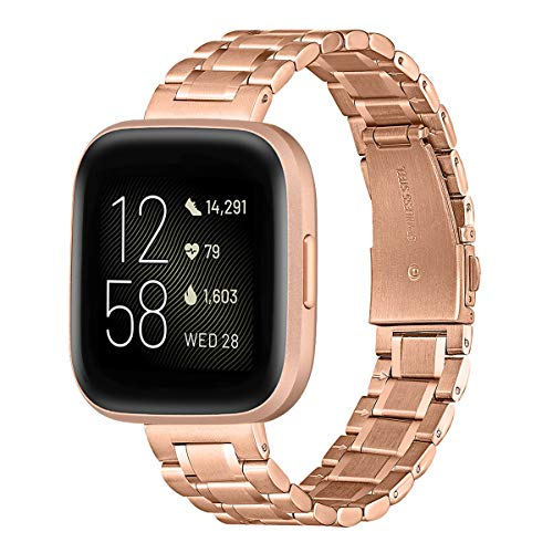 GEARYOU Kompatibel mit Fitbit Versa 2 Armband/Fitbit Versa/Versa Lite/Versa SE Armband, Schnellverschluss Edelstahl Metall Ersatz Armband (RoseGolden)