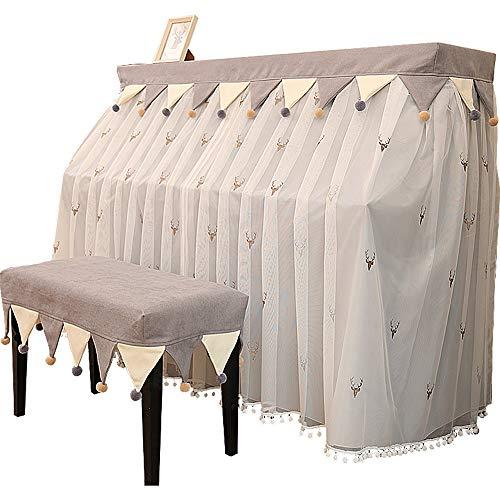 Ofgcfbvxd - Cubierta para Piano Bordado Vertical, Cubierta para Piano a Prueba de Polvo, Cubierta Protectora de Tela para Cortina, Hilo Bordado, Gris, L-76x36cm
