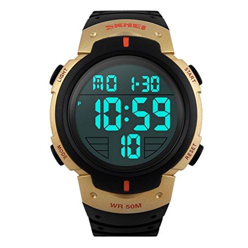 Panegy - Digital Reloj Deportivo LED Múltiples Funciones Cronómetro Resistente al Agua para Hombres Chicos - Dorado