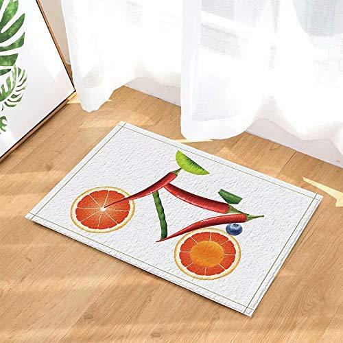 Fruit Art Deco Fiets Oranje Groene Peper Kiwi Kinderbadkamer tapijt toiletdeur mat woonkamer 40X60CM badkameraccessoires