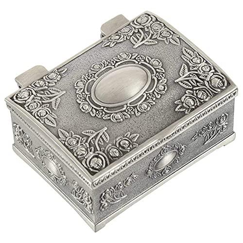 Joyero, Joyero vintage Caja de almacenamiento de collar de anillo antiguo de metal Gran regalo para bodas, cumpleaños, aniversario