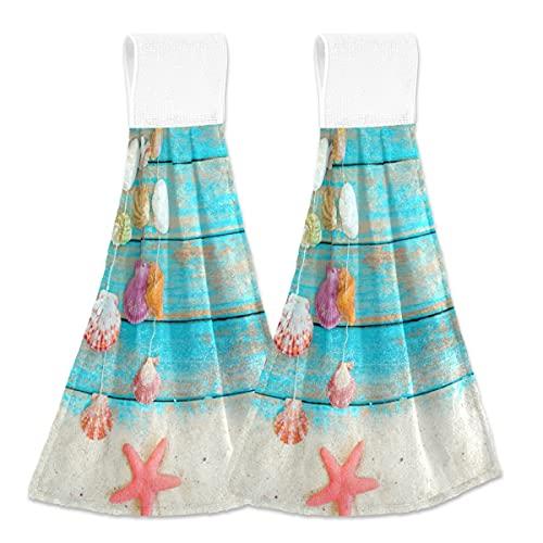 Giwawa Seashell and Starfish Hand Towel Set of 2, Red Starfish Hanging Tie Towel Retro Blue Board Seashells Dish Towel Fast Drying Starfish Seashell Towel for Bathroom Farmhouse Toilet Decor 12x17in