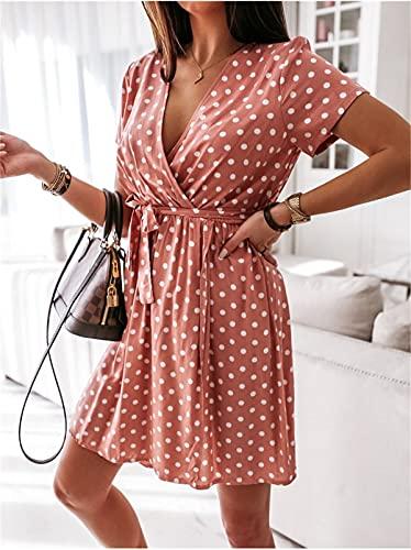 Elegante Vestido de Verano para Mujer Informal de Lunares con Manga Corta de Cintura Alta A-Line con Cordones (Rosado, XL)