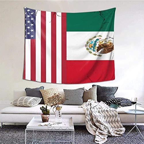 YJWLO - Tapiz de pared con bandera de Estados Unidos y bandera de México, ligero, duradero, para colgar en la pared, decoración del hogar, dormitorio, sala de estar, poliéster, Blanco, 90*60inch