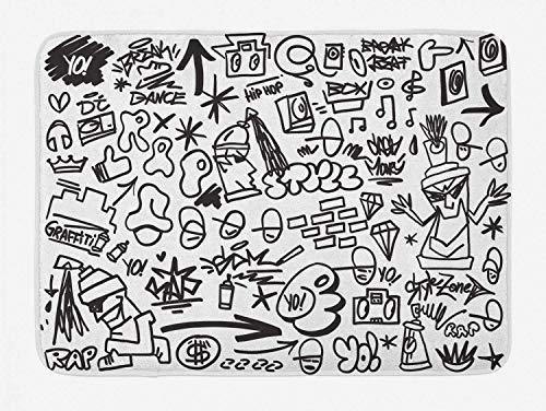 Rap Badematte, Hip Hop Lifestyle und Kultur unter dem Motto Icons in Sketch Style Graffiti Art Design, Plüsch Badezimmer Dekor Matte mit Rutschfester Rückseite