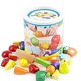 GJKOTPERLTY -Woodiness Frutas Hortalizas de Corte Juguete temprano del Desarrollo y Toy Educación for Niños -Z