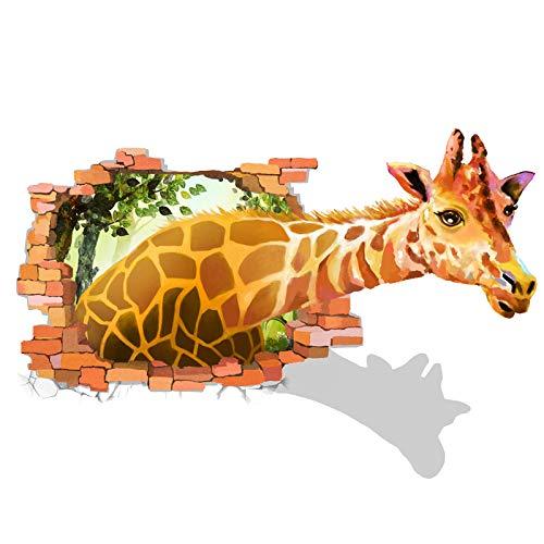 MFKW Creatieve 3D effect muur sticker eenvoudige woonkamer bank achtergrond stickers kinderen kamer slaapkamer cartoon giraffe