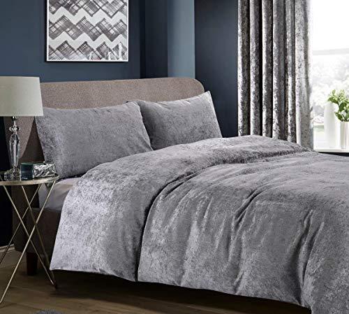 Hachette Knightsbridge Full Crushed Velvet Duvet Cover Bedding Bed Set with Pillowcases (Grey Silver, Double)