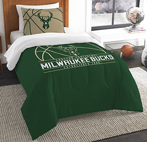 NBA Milwaukee Bucks Twin Comforter and Sham Set, Twin