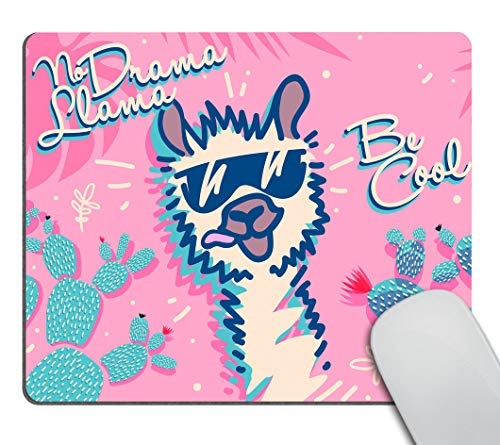 Smooffly No Drama Llama Mouse pad, Cute Cartoon Llama, Be Cool Motivational and Inspirational Quote Personality Desings Gaming Mouse Pad 9.5 X 7.9 Inch (240mmX200mmX3mm)
