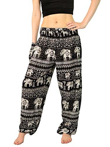 Orient Trail Women's Bohemian Elephant Design Palazzo Yoga Harem Pants Large Black