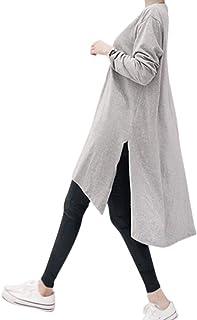[ヌノネット] レディース チュニック ロング丈 サイドスリット ゆったり 体型カバー トップス 白 グレー M L XL 2XL