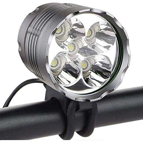 skyweon Bike Light,Super Bright 6000 Lumen 5 LED Bicycle Headlight, Waterproof Mountain Bike Flash Light Front Light Headlamp with 6400mAh Rechargeable Battery Pack Perfect for Night Riding
