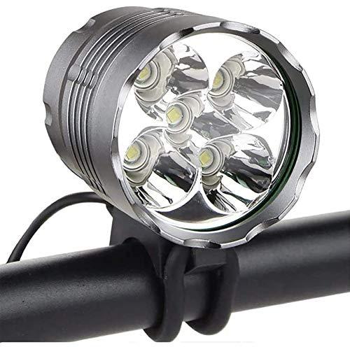 skyweo Bike Light, 6000 Lumen 5 LED Bicycle Headlight, Waterproof Mountain Bike Front Light Headlamp with 6400mAh Rechargeable Battery Pack