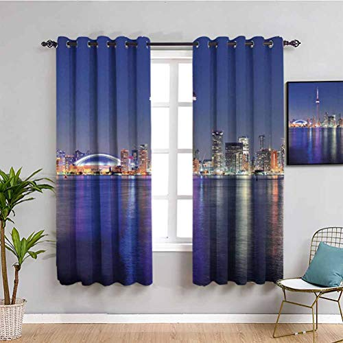 Blue Shading Insulated Curtain Canada Toronto Sunset Over The Lake Panorama Urban City Skyline with Night Lights Soundproof Shade W72 x L84 Inch Blue Pink Peach