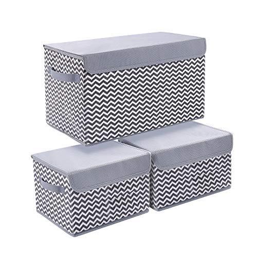 Contenedores de almacenamiento con tapas, 3 paquetes de cubos organizadores de almacenamiento para estantes de armario, hogar, cubo de almacenamiento de tela plegable con mango reforzado