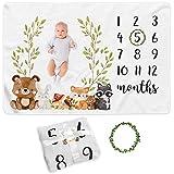 Paishanas Baby Monthly Milestone Blanket | Boy | Girl | Super Soft Premium Fleece | Monthly Blanket | Photo Props for Newborn | Photography Backdrop 60' x 40' | Gender Neutral
