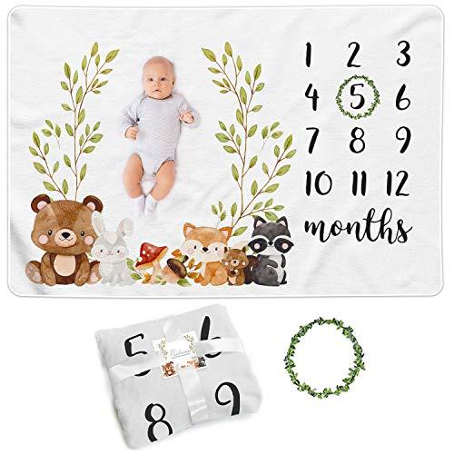 Paishanas Baby Monthly Milestone Blanket | Boy | Girl | Super Soft Premium Fleece | Monthly Blanket | Photo Props for Newborn | Photography Backdrop 60quot x 40quot | Gender Neutral