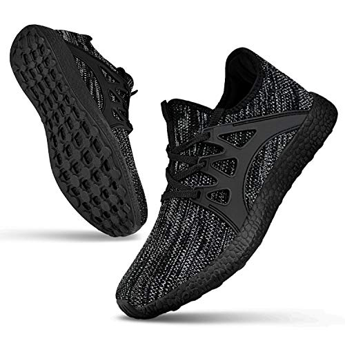 Guteidee Mens Grey Sneakers Running Walking Gym Sport Lightweight Breathable Mesh Cross Training Shoes Size 9