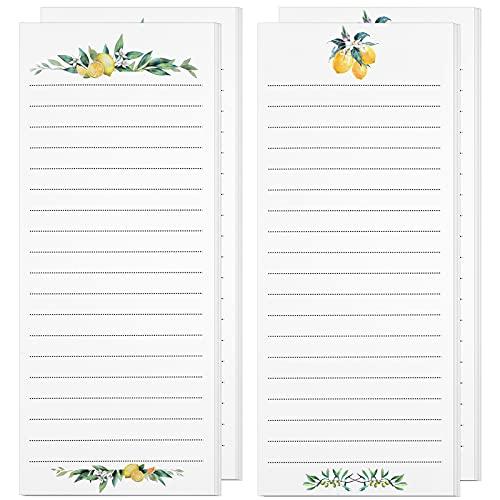 4 Pieces Lemon and Olive Branch Refrigerator Notepads Elegant Lemon Design Tear Off Notepad for Refrigerator Magnetic Meal Planning Pad for Fridge, 50 Sheets Per Piece