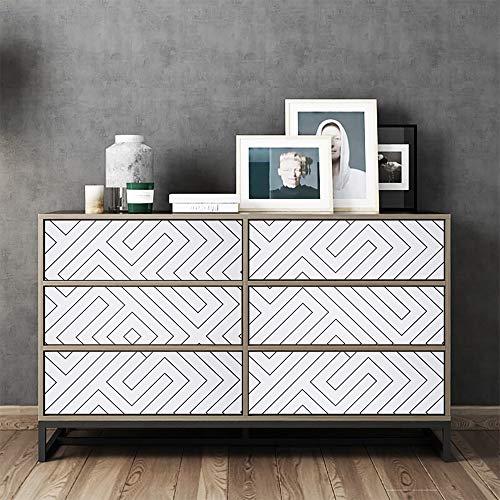Hode Papel Adhesivo para Muebles Geometría Blanca 45cmX3m Papel Pintado Vinilo Pegatina para Muebles Cocina Impermeable Decorativa Autoadhesivo