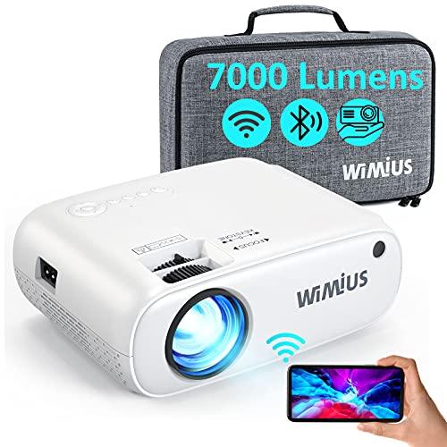 WiFi Bluetooth Beamer, WiMiUS 7000 L Mini Beamer Full HD Heimkino Projektor Support 1080P Video Projektor, 300-Zoll Display, 50% Zoom, 90000 Stunden LED