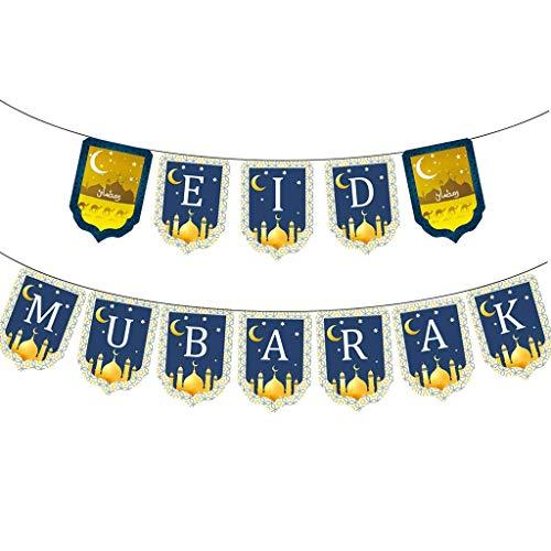 LLKK 1 Unidades Eid Mubarak Banner Ramadán Bunting con Luna Estrellas Castillo Elementos Feliz Año Nuevo Islámico Musulmán Fiesta Decoración Suministros