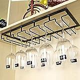 Tosbess Portabicchieri/porta calici - supporto con 5 binari per 10-15 Bicchiere di vino - Mantieni I bicchieri asciutti - a sospensione o a parete, cromato,50 ×22,5 × 5,5 cm (5 binari)