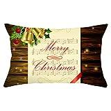 Nunubee Christmas Music Score Pattern Funda De Almohada Sofá Funda De Almohada Cuadrada Decoración del Hogar 1 Pieza Set 23# -12X20 Pulgadas