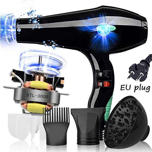 Salon Hair Dryer,Professional Negative Ion Blow Dryers 3000W,2 Speed 3 Heat Settings,with Collecting Nozzle+Diffuser + Comb,Constant Temperature Hair Care,for Home and Salon